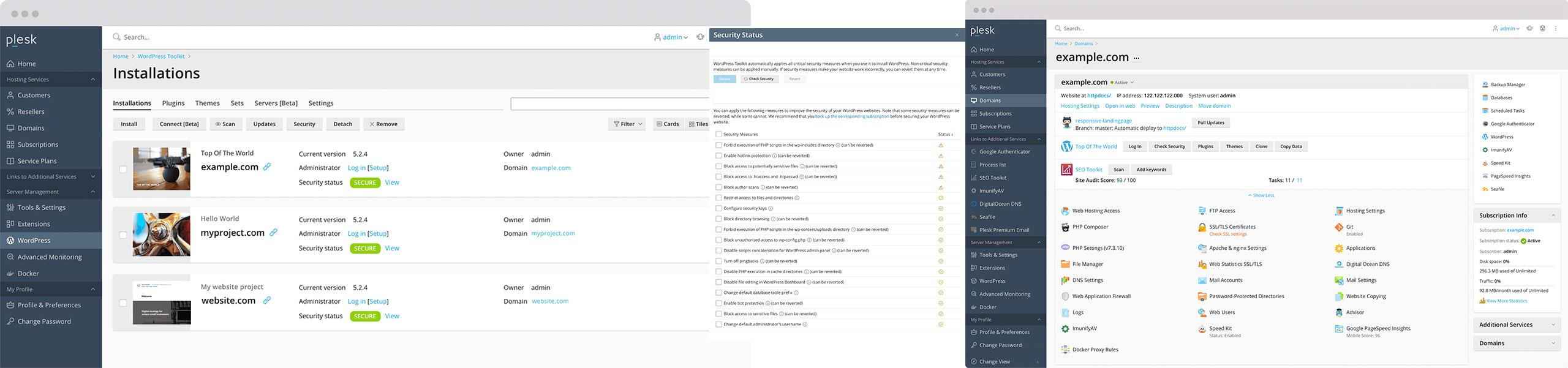 Plesk, gestione centralizzata e massima sicurezza per WordPress